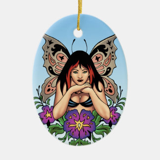 Goth Fairy with Flowers, Butterfly Wings by Al Rio Ceramic Ornament