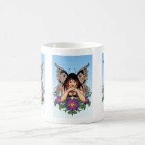 goth, gothic, fairy, fairies, flowers, purple, butterfly, wings, punk, art, al rio, illustration, Mug with custom graphic design