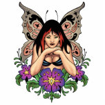 Goth Fairy with Flowers, Butterfly Wings by Al Rio Cutout