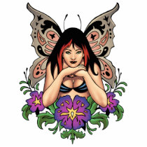 goth, gothic, fairy, fairies, flowers, purple, butterfly, wings, punk, art, al rio, illustration, Photo Sculpture with custom graphic design