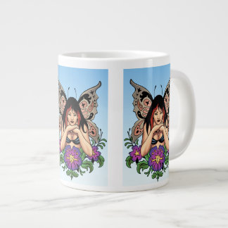 Goth Fairy with Flowers, Butterfly Wings by Al Rio Giant Coffee Mug