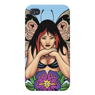 Goth Fairy with Flowers, Butterfly Wings by Al Rio Cases For iPhone 4