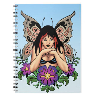 Goth Fairy with Flowers, Butterfly Wings by Al Rio Notebook