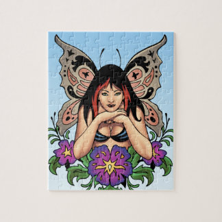 Goth Fairy with Flowers, Butterfly Wings by Al Rio Jigsaw Puzzles