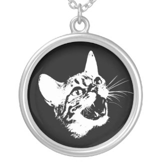 Goth Feral Halloween Kitty Cat Sterling Necklace