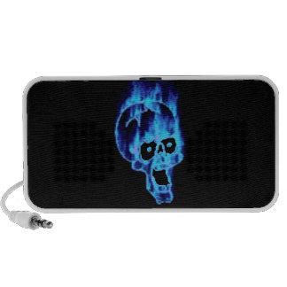 Goth Flaming Blue Skull Doodle PC Speakers