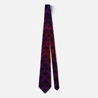 Goth Floral with Black over Purple and Red Neck Tie