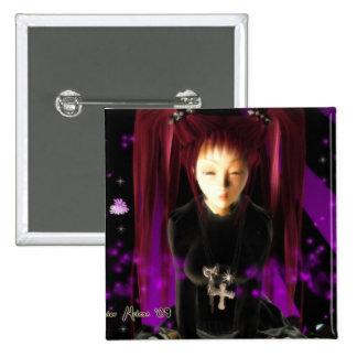 Goth Girl 2 Inch Square Button