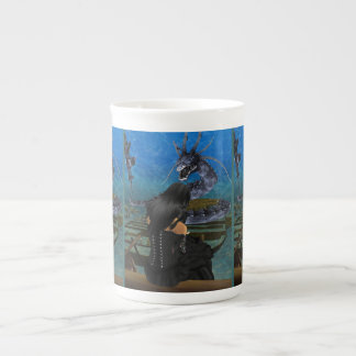 Goth Girl And Dragon Bone China Mug
