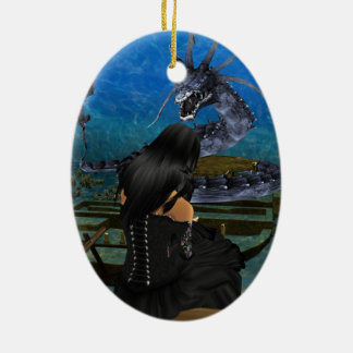 Goth Girl And Dragon Oval Ornament