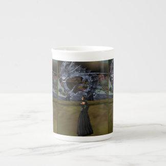 Goth Girl And Gray Dragon Bone China Mug