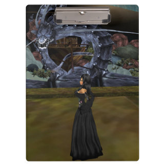 Goth Girl And Gray Dragon Clipboard