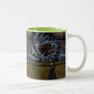 Goth Girl And Gray Dragon Mug