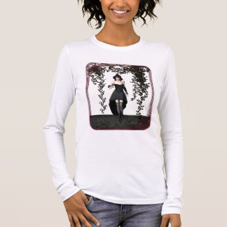 Goth Girl And Roses Long Sleeve T-Shirt