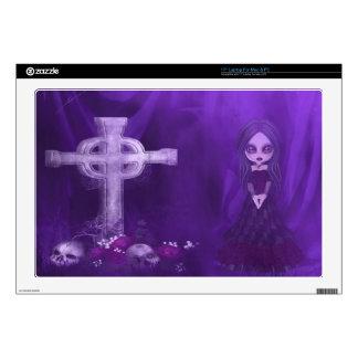 Goth Girl, Cross Skulls & Roses Purple Laptop Skin