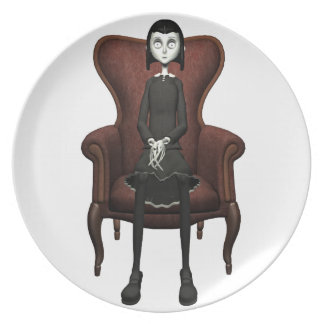 Goth Girl In A Chair Melamine Plate