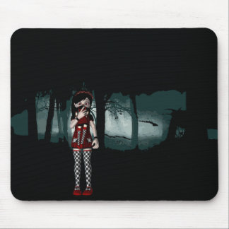 Goth Girl in a Gothic Forest Mouse Pad