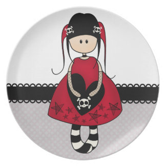 Goth Girl in Red Dress Plates