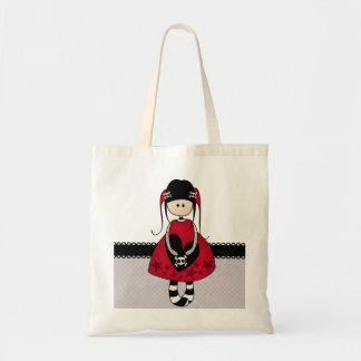 Goth Girl in Red Dress Tote Bags