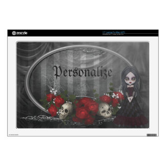 Goth Girl Roses & Skulls Personalized Laptop Skin