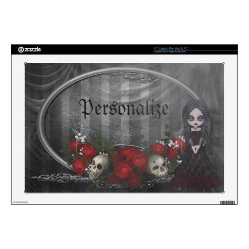 Goth Girl Roses & Skulls Personalized Laptop Skin