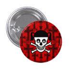 Goth Girl Skull & Crosses Pin