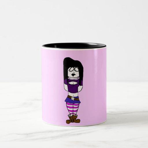 Goth Girl Two-Tone Coffee Mug
