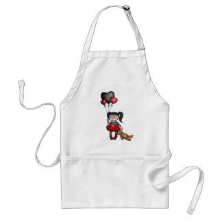 Goth Girl with Dark Heart Balloons Adult Apron