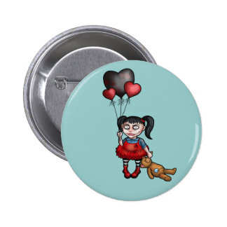 Goth Girl with Dark Heart Balloons Pin