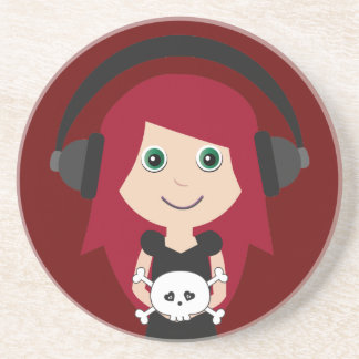 Goth Girl With Headphones & Skull Beverage Coaster
