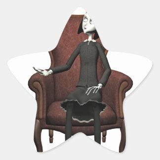 Goth Girl with Raven Star Sticker