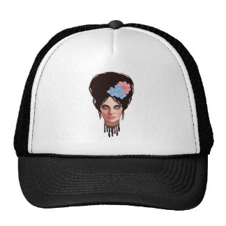 Goth Girl with Retro Beehive Hairdo Trucker Hat