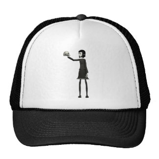 Goth Girl with Skull Trucker Hat