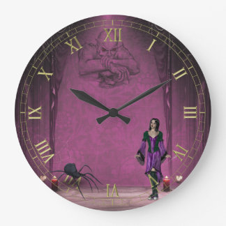 Goth Girl with Spider Wall Clock