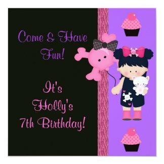 Goth Girlie Cupcake Birthday Custom Announcement