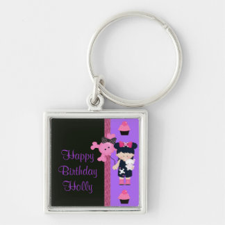 Goth Girlie Cupcake Birthday Keychain