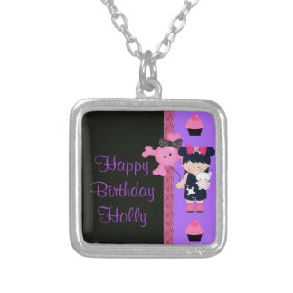 Goth Girlie Cupcake Birthday Silver Plated Necklace