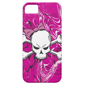Goth Girly Skull with pink bow iPhone SE/5/5s Case