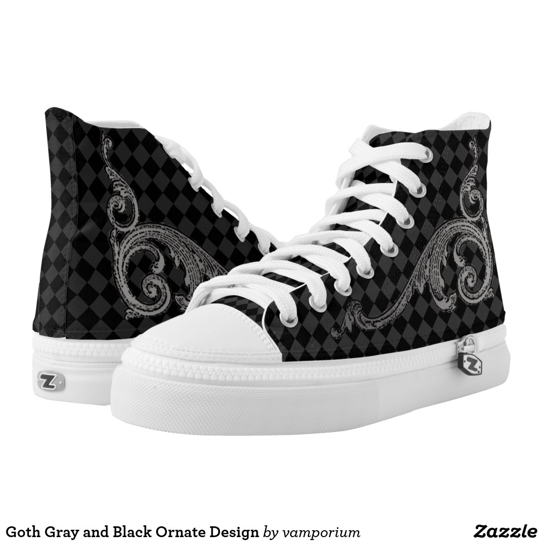 Goth Gray and Black Ornate Design High-Top Sneakers