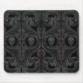 Goth Gray Ornament with Skull Mouse Pad