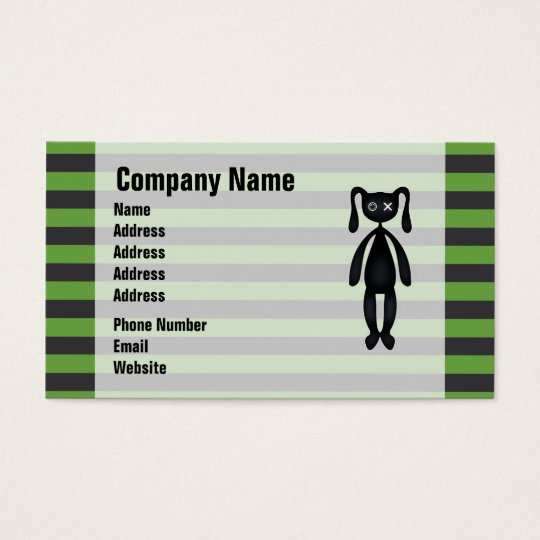 Goth Green and Black Bunny Business Card