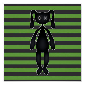 Goth Green and Black Bunny Posters