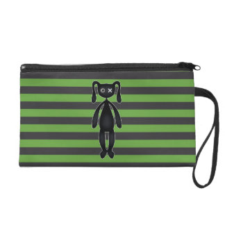 Goth Green and Black Bunny Wristlet Purse