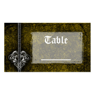 Goth Green Damask Silver Heart Reception Double-Sided Standard Business Cards (Pack Of 100)