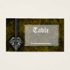 Goth Green Damask Silver Heart Reception Business Card at Zazzle