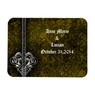 Goth Green Damask Silver Heart save the date Rectangular Magnets