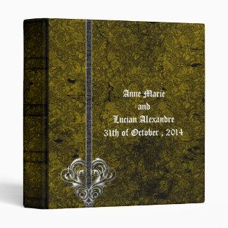 Goth Green Damask Silver Heart Wedding Album Vinyl Binder