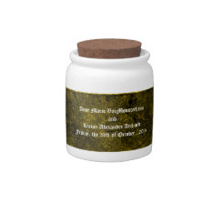 Goth Green Damask Silver Heart Wedding Jar Candy Jar at Zazzle