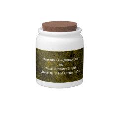 Goth Green Damask Silver Heart wedding jar Candy Jar at Zazzle