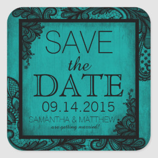 Goth Grunge Lace Save the Date Label